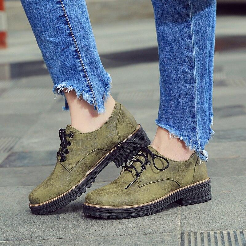 39e03a3e079 Spring Fashion Women s Flats Shoe Lace up Flat Platform Creepers ArmyGreen
