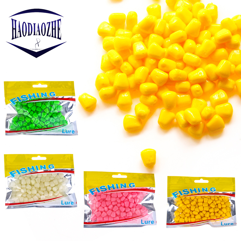 100pcs/lot Colorful Soft Corn Fishing Bait 1cm Artificial Floating Fishing Lures for Bass Pike Carp Silicone Fishing Accessories