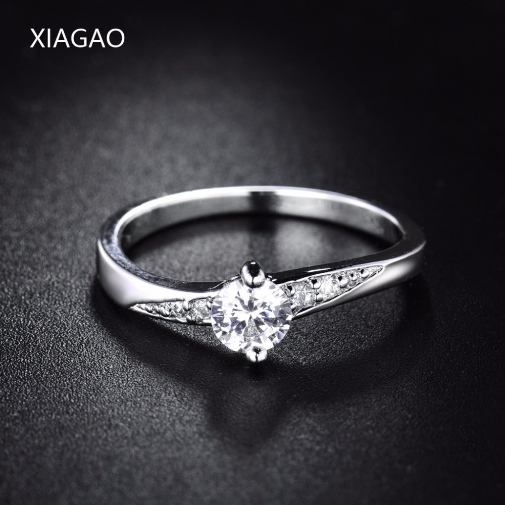 XIAGAO  2016 Brand Fashion Wedding Finger Ring 18K White Gold Plated Crystal CZ Zirconia Ring For Women Statement Jewelry