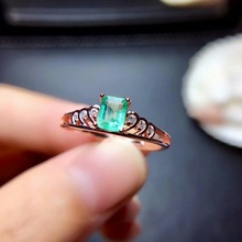 100% 925 sterling silver real Natural green Emerald Rings fine Jewelry gift women trendy open wholesale new 4*5mm mj040509agml цена в Москве и Питере