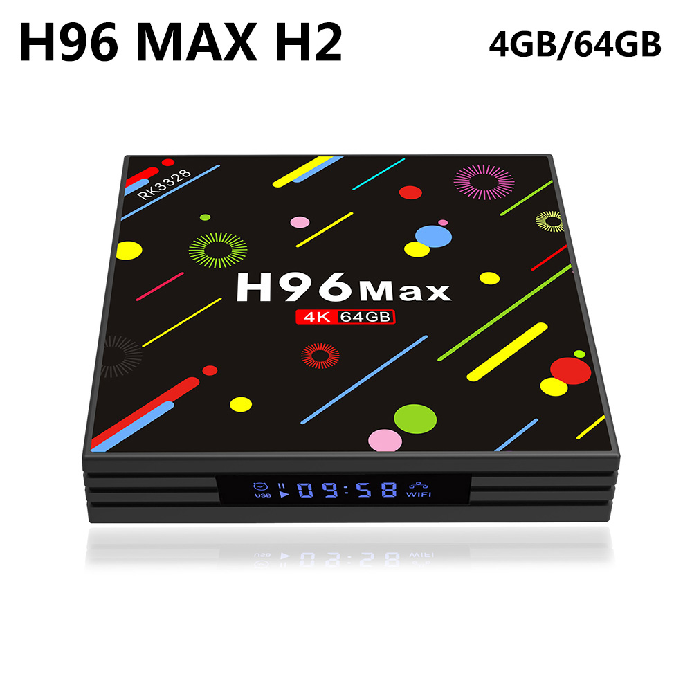 H96 MAX H2 LED Screen TV Box Android 7.1 4GB 64GB RK3328 Quad Core 2.4G/5G WiFi USB 3.0 Bluetooth 4K HDR VP9 Smart Media Player