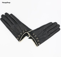 New Women Summer Gloves Fashion Sexy Pole Dancing Driving Fingerless Rivet Skeleton Leather Gloves Halloween Gloves