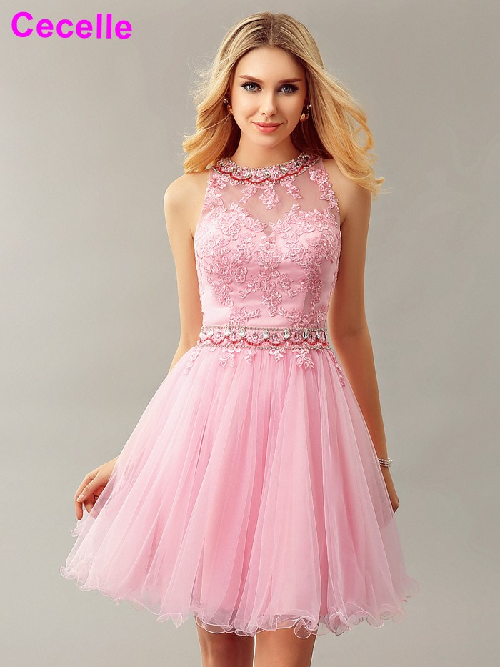 2019 Glamorous Pink Tulle Short   Cocktail     Dresses   Beaded Lace Sparkly Crystal Keyhole Back Cute   Cocktail   Prom Gowns Real Photos