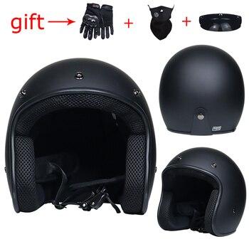 d1983e143c7 Profesional Retro de la motocicleta del casco de gafas máscara Vintave  máscara de la cara abierta del casco Cruz casco 3 4 casco Vintage