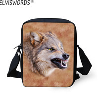 ELVISWORDS Wolf Messenger Bag Waterproof Nylon China Designer Handbags Animal Printing Crossbody Bags Boys Single Shoulder Bag
