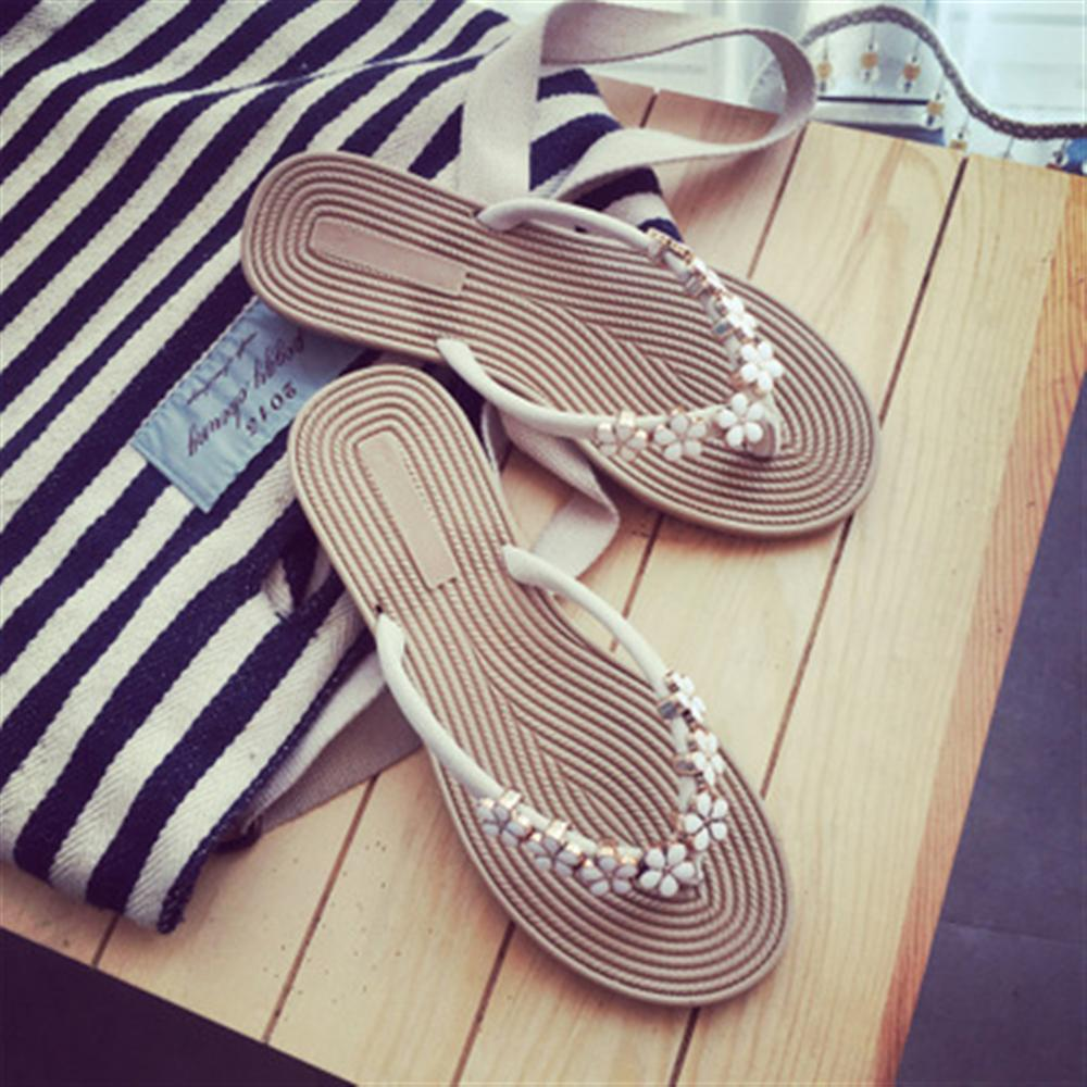 ca67278e7 Women Slippers Summer Beach Slippers Flip Flops Sandals Women Flowers  Fashion Ladies Flats Shoes