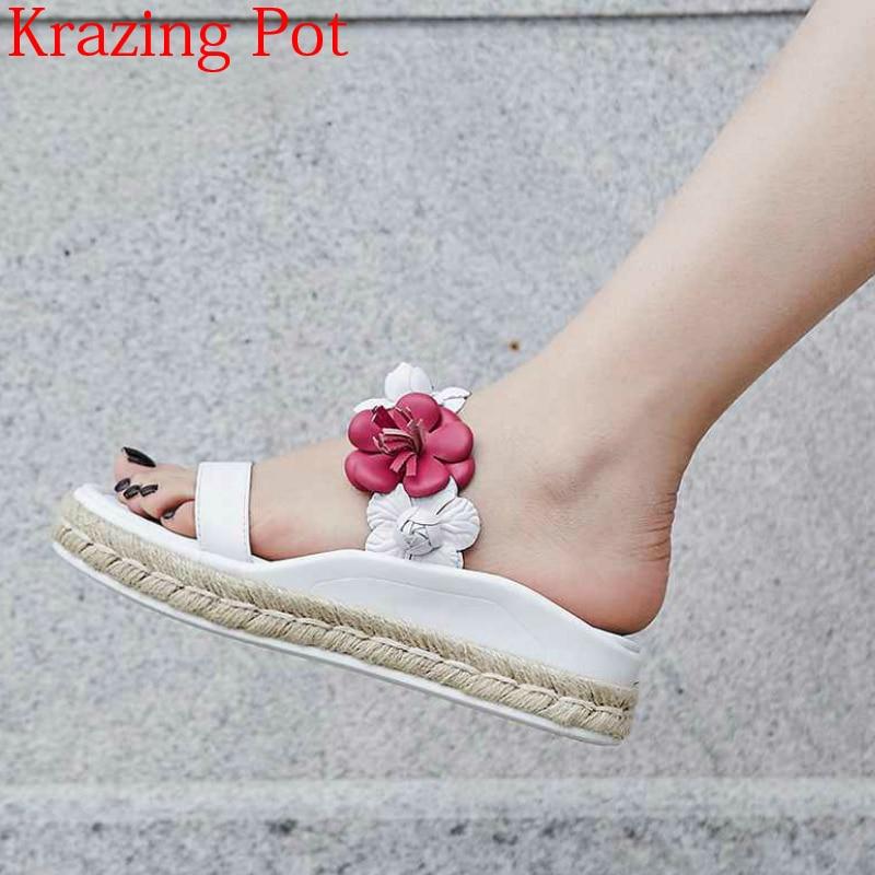 2019 새로운 도착 정품 가죽 혼합 색상 꽃 외부 슬리퍼 플랫폼 뮬 화려한 증가 비치 여성 샌들 l56-에서중 힐부터 신발 의  그룹 1