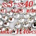 Super Brilho ss3-ss40 Cristal Brilhante Claro Pedrinhas Não Hotfix Flatback Mista Strass Pedras Redondas de Vidro Decorações Da Arte Do Prego