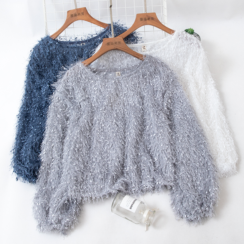 New Spring Autumn Sweet Solid Tassel Knitted Sweaters Women Elegant O-Neck Long Sleeve Pullovers Vintage Loose Short Tops Mw615