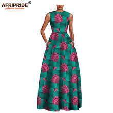 2019 African style elegant dresses for women AFRIPRIDE tailor made sleeveless ankle length ankara women cotton dress A722509