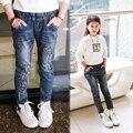 2017 spring female child jeans children trousers Star pattern girls slim jeans