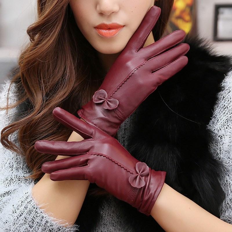Real Genuine Leather Gloves Women Luxury Warm Sheep Skin Winter Girls Real Leather Yellow Glove Driving  Warm Ladies Glove