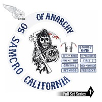 Original Sons of motorcycle Anarchy Embroidery patch mc punk iron on patches for clothing jacket 45cm applique
