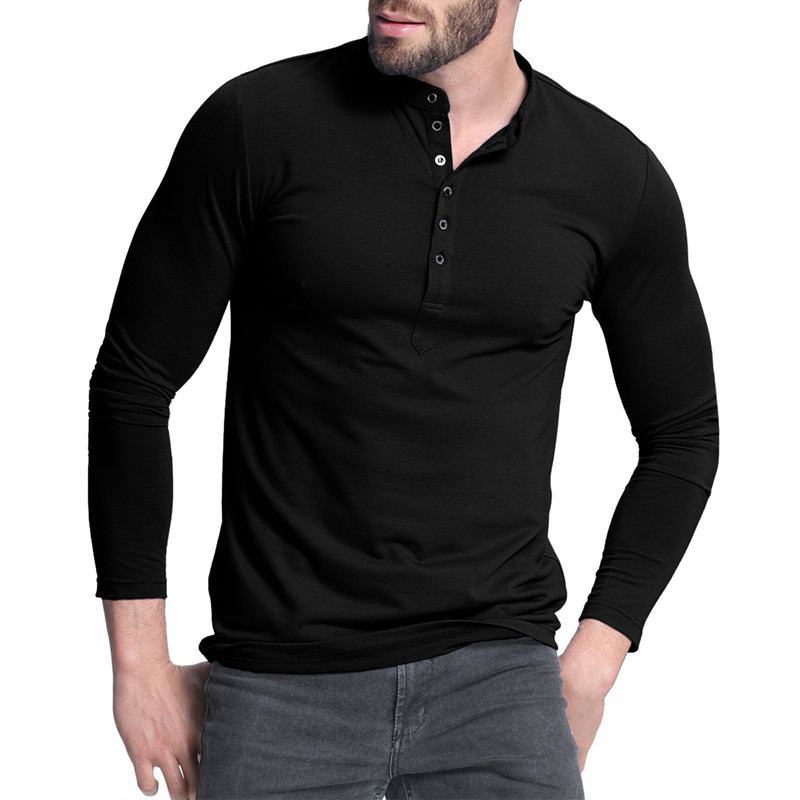 2018 Autumn Men s Henley Shirt Solid Design Long Sleeve Casual Tee Top Men Slim Fit