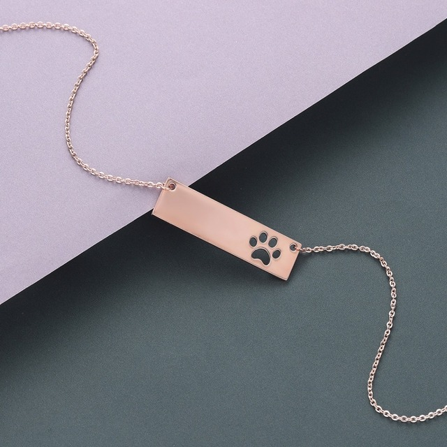 Cat Dog Paw Necklace Pendant Geometric Bar Stainless Steel Jewelry Pet Lover Gift Women Necklace Cute Baby Gift 4