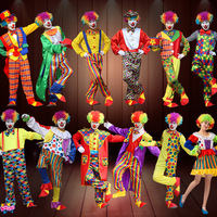 Holiday Variety Funny Clown Costumes Christmas Adult Woman Man Joker Costume Cospaly Party Dress Up Clown