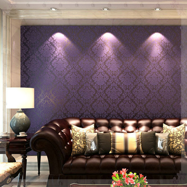 Clic European Damascus Non Woven Wallpaper Damask Fl Print Purple Pink Bedroom Living Room