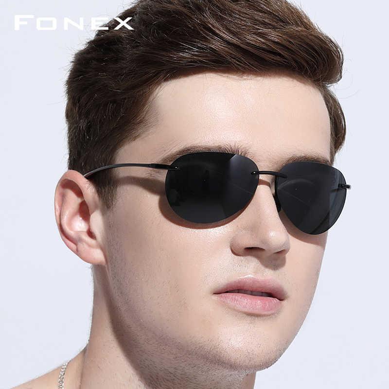 a452c53ee3 ... Gafas de sol Ultem TR90 sin montura hombres ultraligero 2018 hombre de alta  calidad Aviador espejo ...