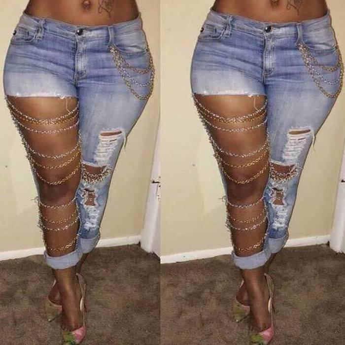Jeans Chain Jeans Pants Low Waist Large Hole Destroyed Distressed Denim Trousers Women Long Bottom