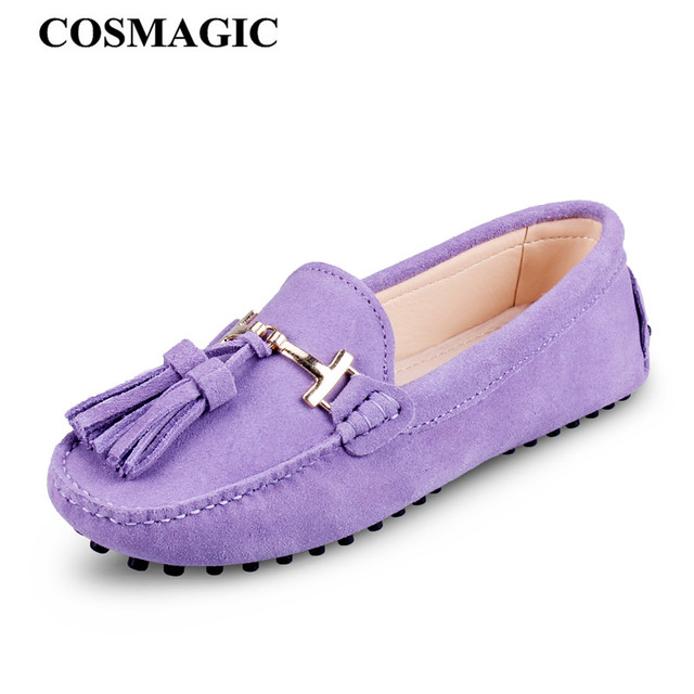 31e8835b8e7 COSMAGIC New Women Driving Loafers Flats 2017 Fashion Casual Suede Metal  Buckle Fringe Moccasins Tassel Handmade Boat Shoes