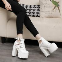 STAN SHARK Women Boots thick bottomed Short Boots White Super High With Punk Performance high heeled Short Shoes black 14CM