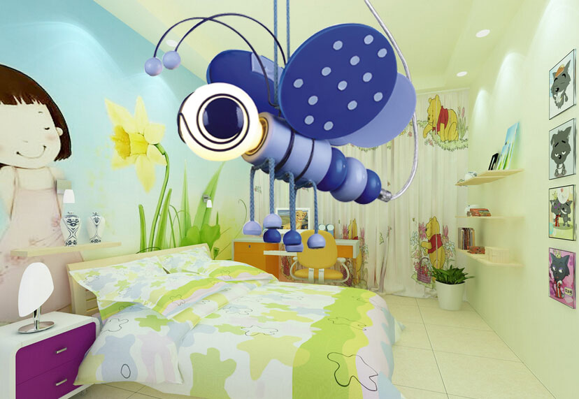 Retail and Wholesale Modern Blue/Pink LED E14 Cartoon Bee pendant lamp for children bedroom Kids,childrens Night Lights