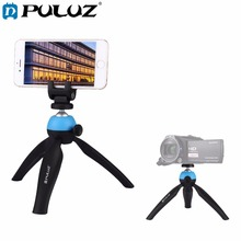 PULUZ Pocket Mini Tripod Mount with 360 Degree 1/4 screw Ball Head for GoPro 5 4 3+,Action Camera & Phone Clamp for Smartphones hobbyinrc for gopro hero 5 4 3 action sports camera 360 degree mount bracket holder tripod support 1 4 base for dji mavic pro