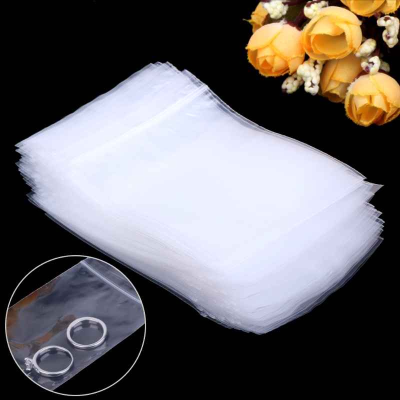 NEW 100pcs Resealable Plastic Seal Zip Lock Bags Transparent Clear Poly Bag 6cmx9cm