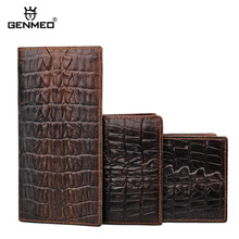 GENMEO New Genuine Leather Wallet Men Cow Leather Purse with Card Holders Alligator Grain Male Clutch Dollar Bag Bolsa Feminina недорого