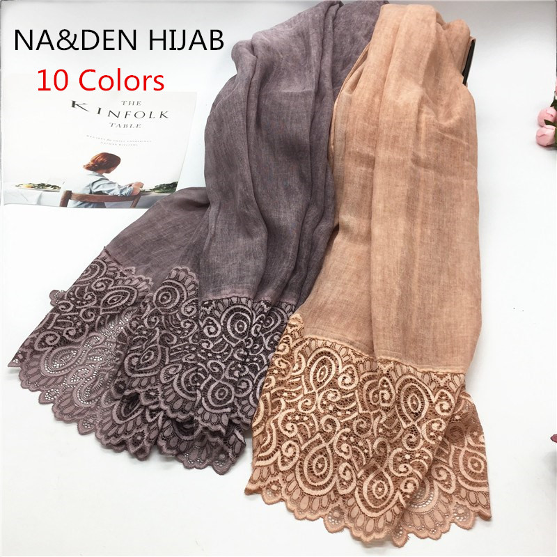 2019 NEW Vintage Pattern Hijab Embroidery Lace Fashion Women Scarves And Shawls Brand Wrap Soft Muffler Luxury Islamic Hijabs