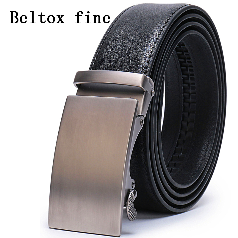 Men's Leather Ratchet Dress Belt With Automatic Buckle 28-58 Big And Tall Mens Belts Luxury Ceinture Cuir Noir Homme