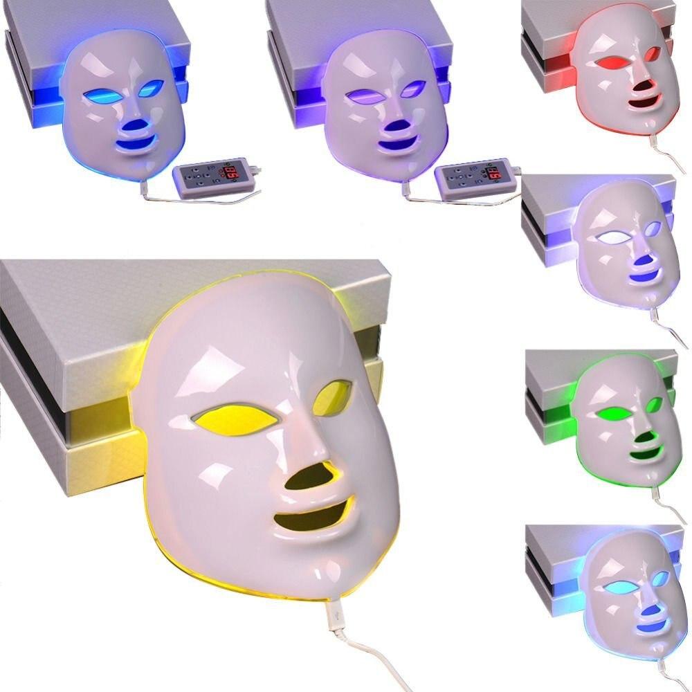 7 ألوان الجمال العلاج الفوتون LED الوجه قناع ضوء العناية بالبشرة تجديد التجاعيد حب الشباب إزالة الوجه الجمال سبا-في التدليك والاسترخاء من الجمال والصحة على  مجموعة 1