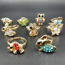 10pcs Fashion Children Adjustable Rings Wholesale lots Mixed Animal Crystal Rhinestone Finger Band