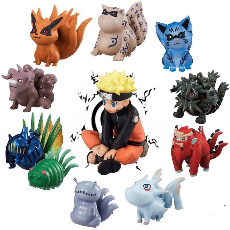 11pcs/lot Naruto Uzumaki Tailed Beasts Shukaku Gyuki Kurama Isobu Son Goku Kokuo Saiken Chomei Shinju action figure toys WX168