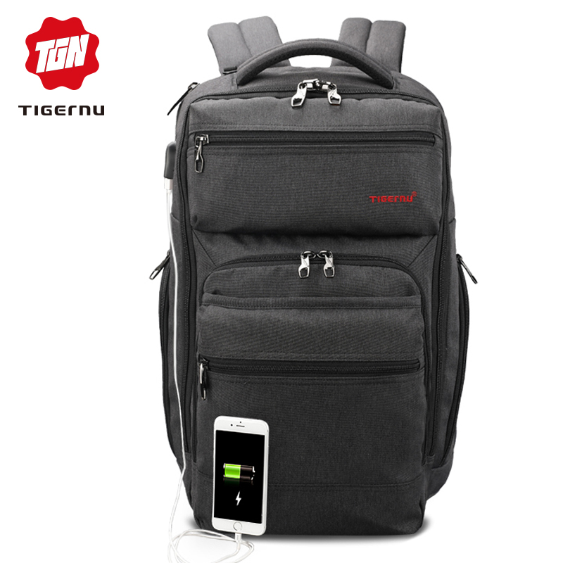 Tigernu Brand 29L Anti Theft Men Fashion USB Charger Male Mochila 15.6inch Laptop Bag Backpacks Travel Casual Schoolbag For Boy