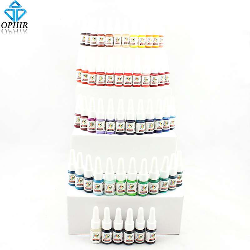 OPHIR 54 Colors Tattoo Inks Body Art Tattoo Supply High Quality 5ml/bottle Tattoo Ink pigment _TA025 outdoor inkjet printer bulk ink system adapter with liquid sensor and air filter 3 hole uv inks 1 5l sub tank inks bottle part