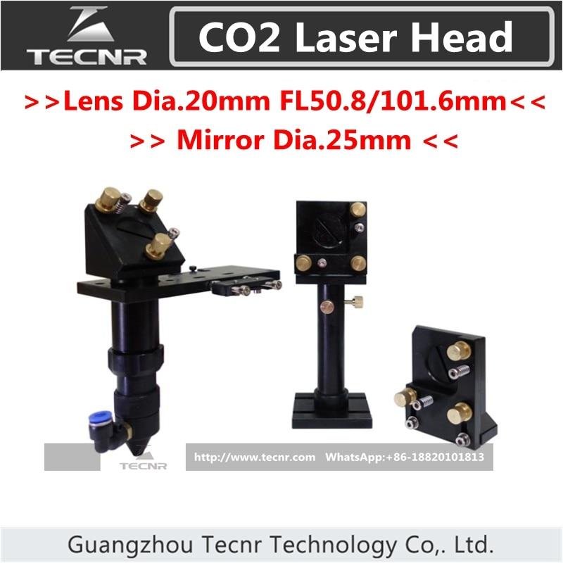 CO2 laser head set  integrative focus lens and 25MM Dia laser mirror mount 50.8MM FL aluminum co2 laser head set dia 20mm znse focal focus lens fl 50 8mm integrative mount dia 20mm si reflective mirror