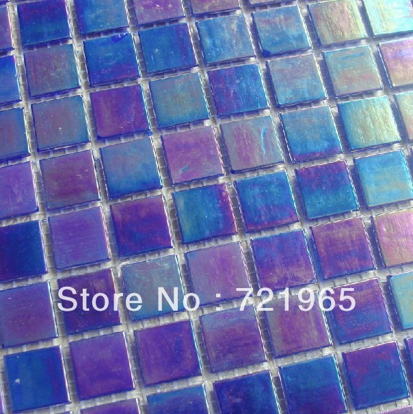 Iridescent glass mosaic tiles free shipping glass mosaic for Purple glass bathtub