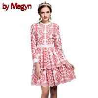 По megyn 2017 женщин взлетно-посадочной полосы платье Лето Элегантный цветочный принт линии колен Bodycon Тонкий платья женские Vestido V343