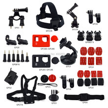 Go pro combo bundle accessories 19 in 1:Bicycle Handlebar+Chest Harness+3M sticker Set +Suction cup+Gopro Floaty bobber GP-K07