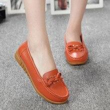 Zapatos de Mujer 2017 Cuero Genuino de Las Mujeres Zapatos de Los Planos 4 Colores Mocasines Resbalón En los Zapatos Planos de Las Mujeres Mocasines 546589