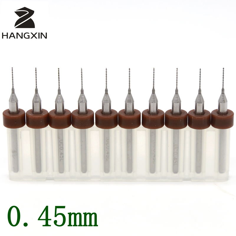 0.45mm PCB Drill Kit 10PCS Printed Circuit Board Tools Woodworking Metal CNC Routers Laser Cutting Machines Drilling and Milling titanium coated pcb drill 3 175mm 0 8mm drill tool 10pcs printed circuit board mini engraved metal cnc router woodworking