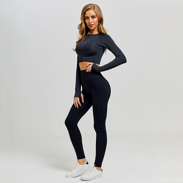 Women Vital Seamless Yoga Set Gym Clothing Fitness Leggings Cropped Shirts Sport Suit Women Long Sleeve