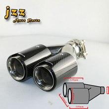 JZZ 1 unids Auto el doble tubo de escape de corte Recto en el coche consejos silenciador de acero inoxidable///M para el coche 63mm de entrada con abrazadera