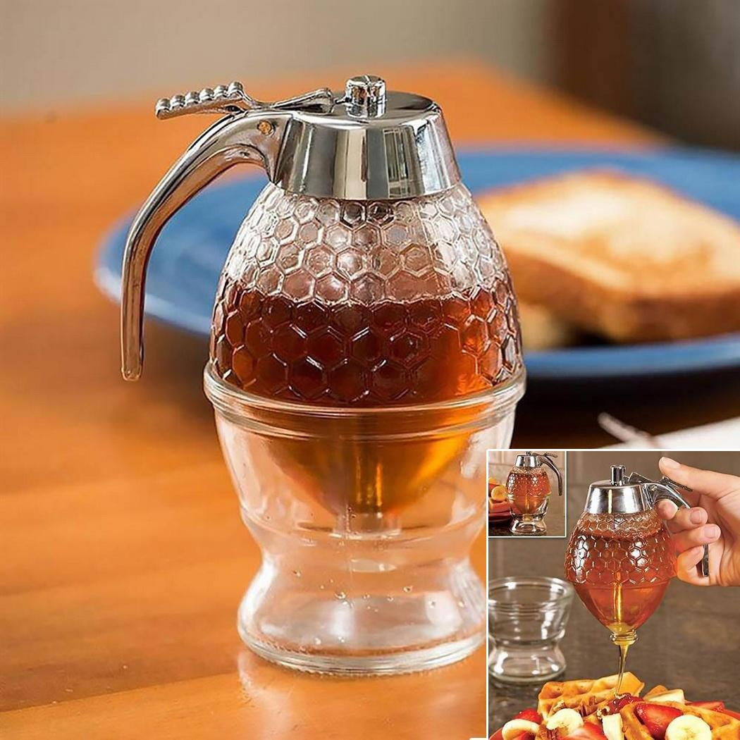 Honey Dispenser With Stand Jar Container Cup Juice Syrup