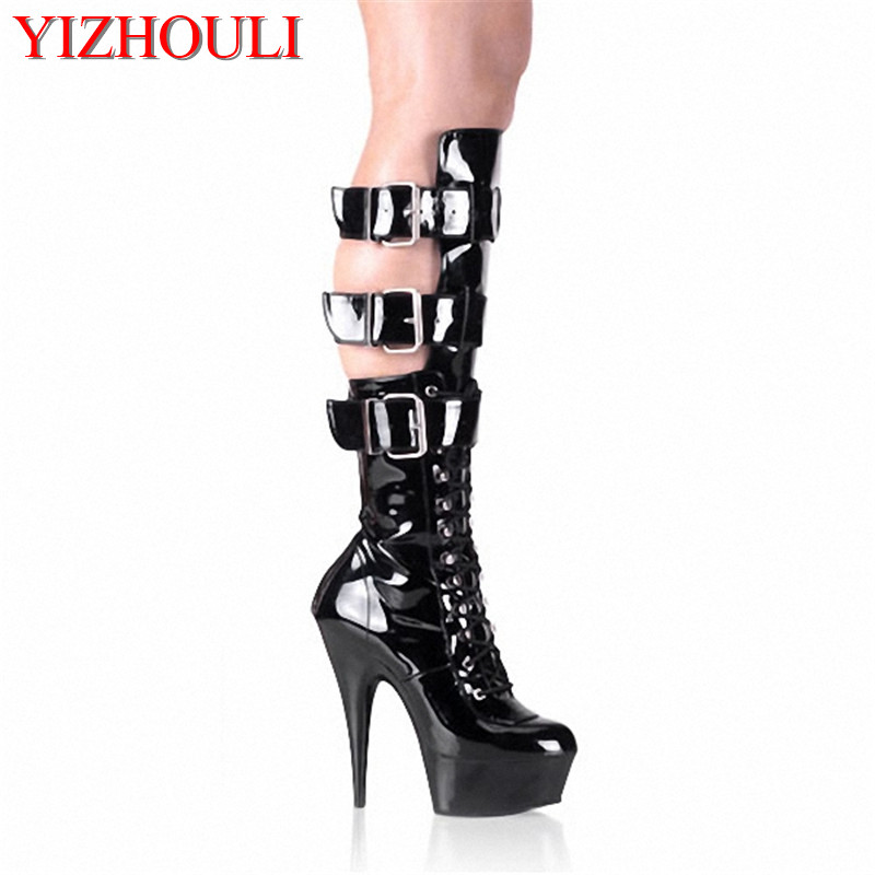 15cm front strap steel pipe dance shoes cutout hasp knee-high motorcycle boots 6 inch Taylor Momsen Gothic high-heeled shoe sexy drawstring front cutout midriff tropical jumpsuit