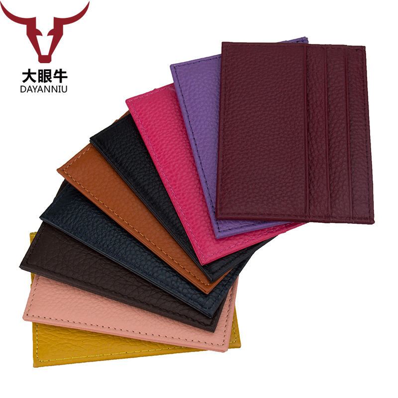 100% Genuine Leather Credit Card Id Holders Candy Color