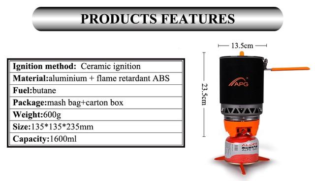 APG 1600ml Portable Camping cuisinière à gaz système de cuisson Butane Propane brûleurs
