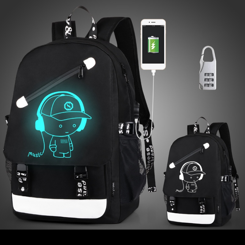 Teenagers Backpack Gym Bags Senkey Style Cartoon USB Charge Backpack Anime Luminous School Bags Women Men Backpack