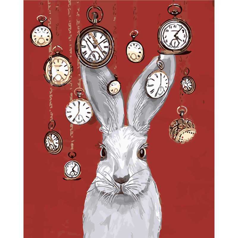 HAOCHU Fairy Tale Clock and Rabbit Cartoon Canvas Painting Wall Picture DIY Painting By Numbers Home Kids Room Decor Birth Gifts